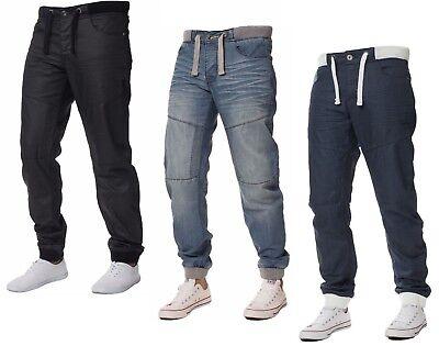 Mens ENZO Cuffed Denim Jogger Jeans Regular Fit Latest All Waist Size 28-48