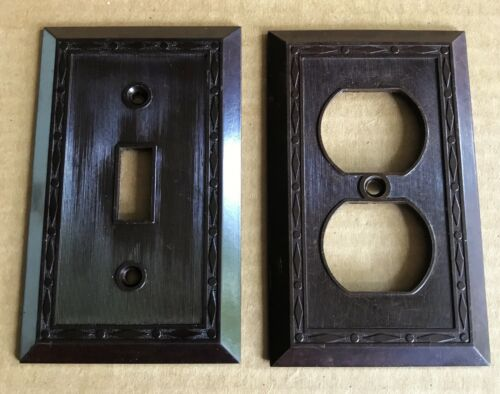 Leviton Brown Bakelite Electric Outlet Light Switch Plate Covers 2 Dot Diamonds