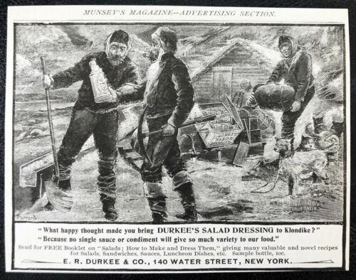 Antique 1897 DURKEE Salad Dressing Vtg Art Print Ad~Klondike Alaska Gold Miners!