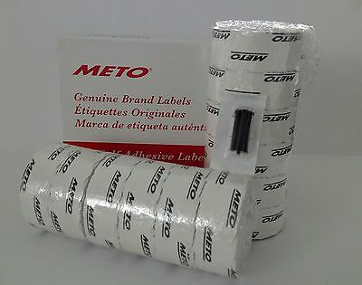 Meto Labels To Suit 20.26 2 Line Pricegun 12 Rolls White Labels Ink Roller