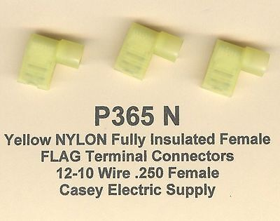 Yellow 50 Flags (50 Yellow NYLON Fully Insulated FLAG Terminal Connector #12-10 Wire Gauge .250)