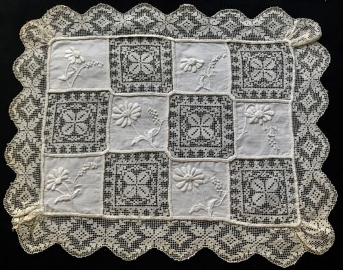 Antique Italian Doily Filet Needlework Lace & Tuscany Embroidery French Knots