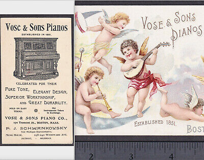 Antique Vose & Sons Piano Boston 1800's Cherub Music Angels Victorian Trade Card