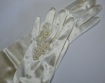 Ivory Ring Finger Wedding Gloves Above Elbow 19