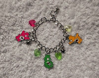 CARE BEAR Inspired Adjustable Charm BRACELET Free GIFT Bag Pink Green (Green Care Bear)