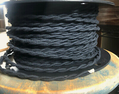 16 Gauge Black Cotton Cloth Covered Twisted Wire - Vintage Braid Style Lamp Cord