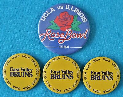 EAST VALLEY BRUINS UCLA  & UCLA VS. ILLINOIS ROSE BOWL 1984 BUTTON PINS -VINTAGE