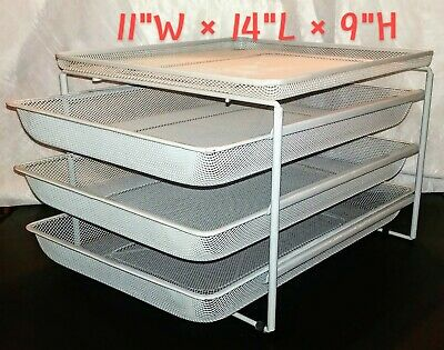 Office Desk 4-tier Paper File Supply Organizer 3 Sliding Trays Grey Metal Mesh