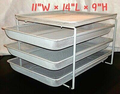 Office Desk 4-tier Paper File Supply Organizer 3 Sliding Trays Grey Metal Mesh