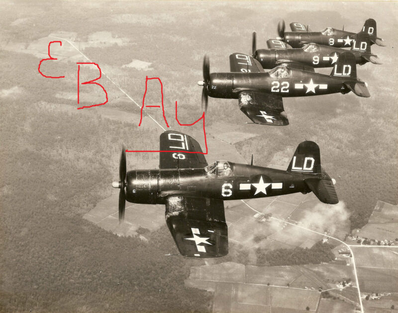 WWII ACTION 8X10  PHOTOGRAPH OF A US F-40 CORSAIRS IN FLIGHT FORMATION MARKED