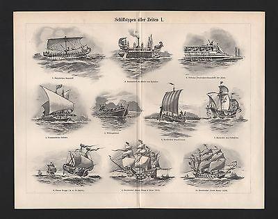 Lithografie 1897: Schiffstypen aller Zeiten I/III/II. Dampfregatte Elisabeth