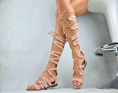 Neu Designer Damenschuhe Sexy Party Pumps-Ballerinas Schnürung Gladiator Rosa Schnürung Design
