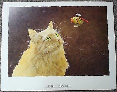 Target Practice Will Bullas Adorable Cat Vs Bird Toy Poster Art Print