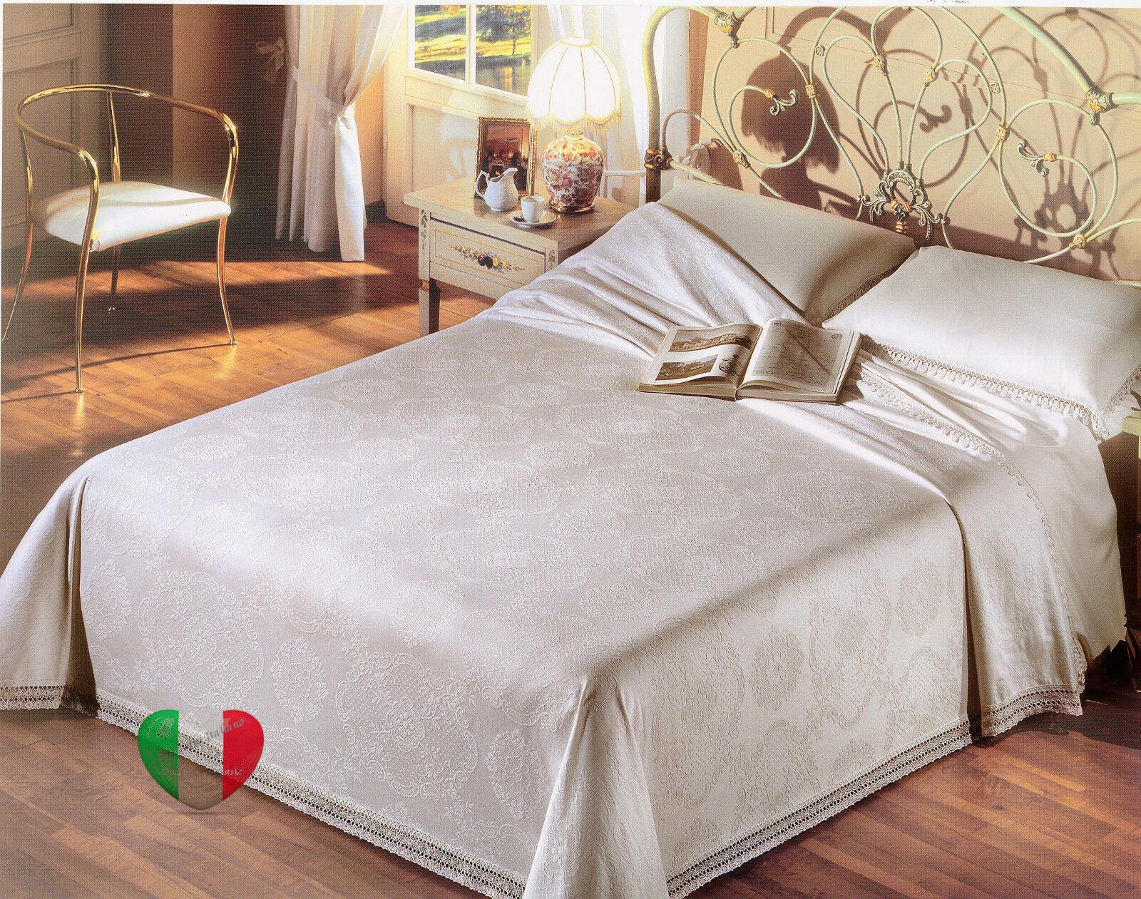Coperta Copriletto Tessuto Broccato Bianco 100% Puro Cotone Elisabeth