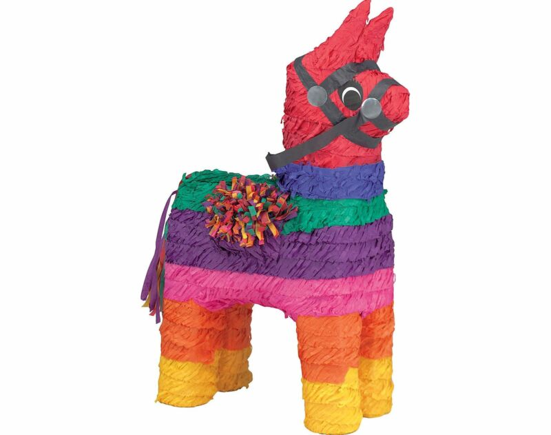 """Rainbow Donkey Pinata, 19"""" x 14"""" x 6 1/4"""""""