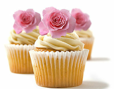 ✿ 24 Edible Rice Paper Cup Cake Topper, decorations - Rose - Cup Cake Decorations