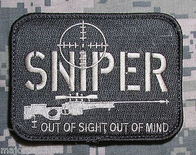 SNIPER OUT OF SIGHT MIND ACU LIGHT US ARMY MILITARY TACTICAL HOOK MORALE PATCH