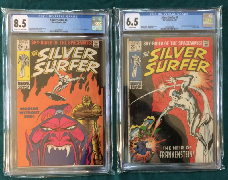 Lot of 2: Silver Surfer #6, #7 CGC 8.5/6.5  Worlds Without End 1st App Overlord