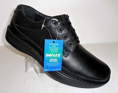 (Buy 1 or 2 NEW DREW TOLEDO Men's SIZE R 10.5 W, L 12 W BLACK Dri-Lex Gel Shoes)