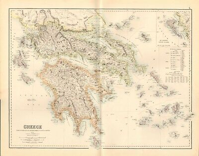 1874 ca LARGE ANTIQUE MAP- PETERMANN - GREECE
