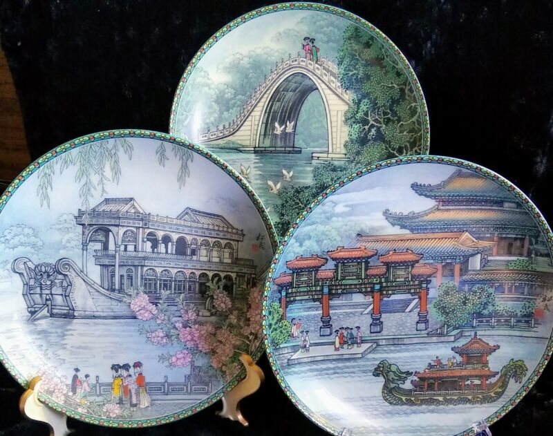 3 Imperial China Jingdezhen Porcelain Collector Plates, The Summer Palace, EUC!
