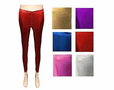 Girls Disco Pants (KIDS GIRLS DISCO SHINNY WET LOOK FOOTLESS LEGGINGS METALLIC DANCE PANTS UK)