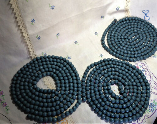 """CLEARANCE 3 Strands Primitive Wood Bead Garland Gray Approx 108"""" ea"""