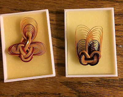 "2 Different Handmade Love Knot Bamboo Fashion Pins Brooches. 2"" Long"