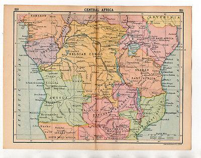 Antique Map Of Central Africa  John Bartholomew C1920