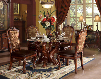 Cherry Brown 5 piece Dining Room Set w/ Round Pedestal Glass Table & Chairs IACI Cherry Dining Room Pedestal