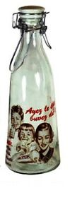 GHA Vintage Look Glass 1 Litre Milk Bottle - Lactie