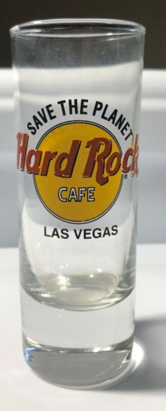 Hard Rock Cafe Las Vegas Save the Planet Classic Logo Tall Double Shot Glass