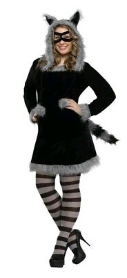 Furry Racy Raccoon Dress Women Adult Plus Size Costume Fantasy by Fun World