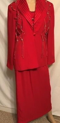 Justin Taylor Red Dress Suit Embellished Jacket & Skirt / silver ladies sz10
