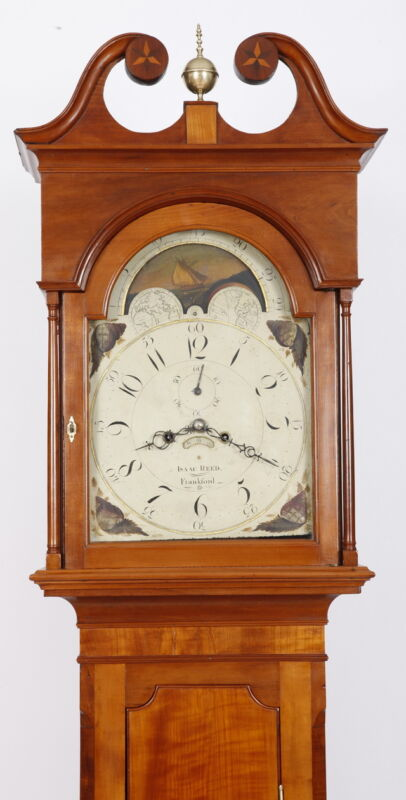 Isaac Reed Philadelphia Tall Case Grandfather Clock 1820 Cherry Case 8 day