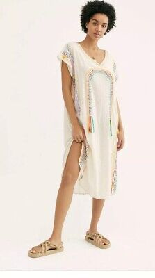 Free People Momo Chasing Rainbows Embroidered Kaftan One Size New