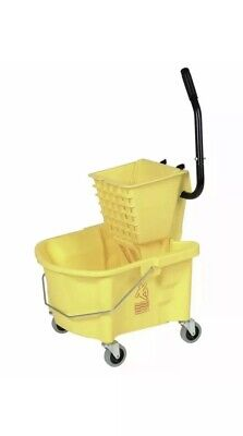 Continental 26 qt Yellow Plastic Mop Bucket With Side Press Wringer -