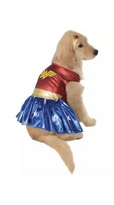Wonder Woman Deluxe Dog Costume - Blue/Red/Yellow - Medium for Halloween