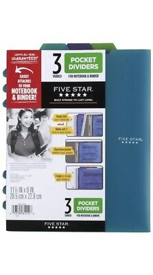 Five Star Pocket Dividers Tabbed Fits 3 Ring Binder Colors Will Vary 3 Pack