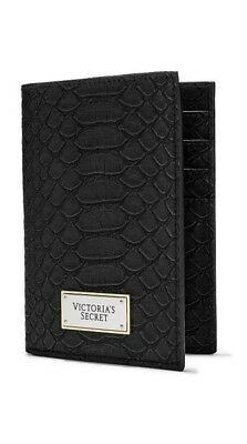Victorias Secret Black Python Passport Cover Case Travel Wallet Credit Card Nwt
