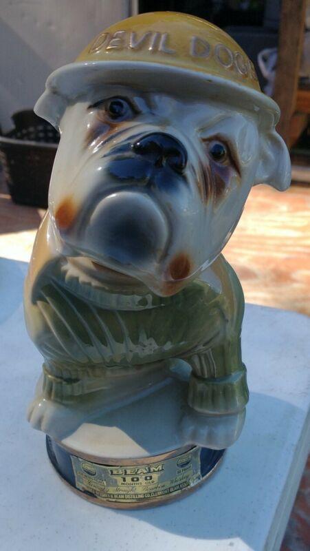 Vintage Jim Beam Bourbon Devil Dogs USMC Bulldog Dog Mascot 1979 Decanter