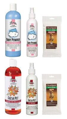 Dog Grooming Shampoo Spray & Wipes Kit Choose Fresh Pet or Baby Powder Scent (Fragrance Grooming Wipes)