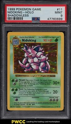 1999 Pokemon Base Set Shadowless Holo Nidoking #11 PSA 9 MINT