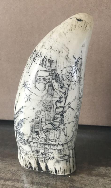 """Antique Faux Scrimshaw Carving Ship Port Etching 6"""""""