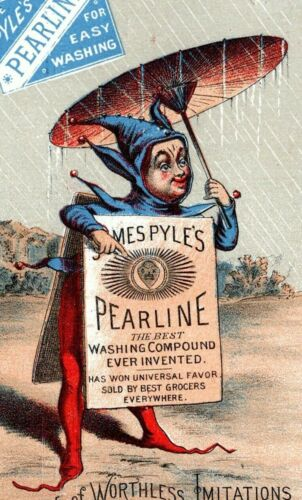 Jester with Umbrella Art Pyles Pearline Soap Victorian Advertising Trade Card