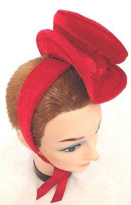 Red Tiny Velvet TOP HAT Headband Costume Hat