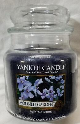 Yankee Candle MOONLIT GARDEN Medium Jar 14.5 Oz Blue Housewarmer Wax (Blue Garden Candle)