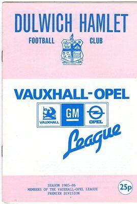 DULWICH HAMLET  V  BARKING 4/1/1986 vauxhall opel prem PROGRAMME