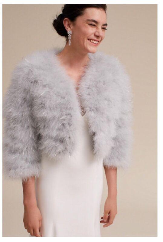 New gorgeous bridal Anthropologie BHLDN Raven Shrug silver/grey size M