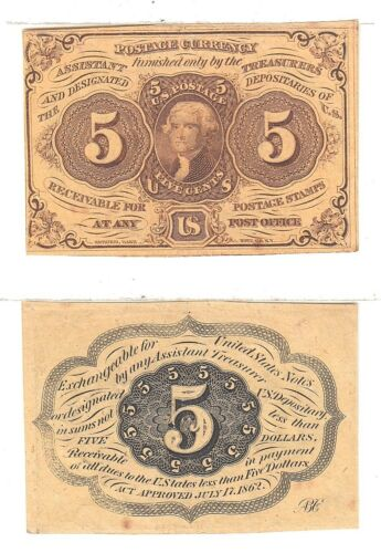 Fractional Currency 1st Issue 5 Cent FR 1230 Straight W/Monogram Extra Fine #05X